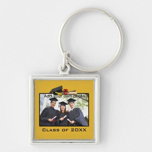 Llavero cuadrado de la foto de la graduación del o