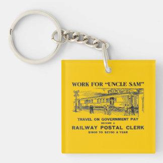 Llavero cuadrado del vendedor postal 1926 ferrovia