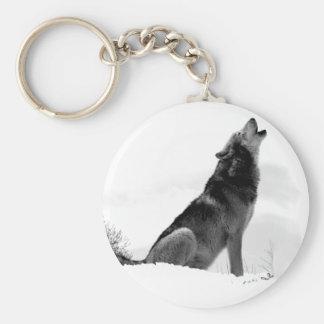 Llavero de Alaska del lobo de madera