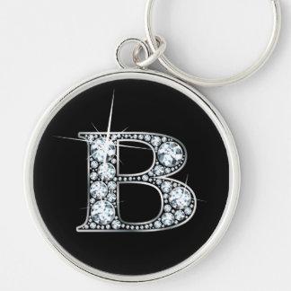 """Llavero de Bling del diamante de """"B"""""""