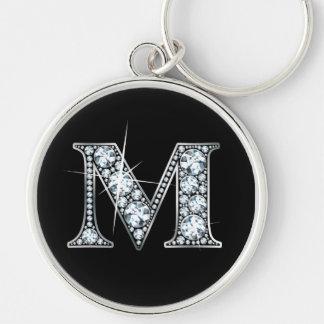 """Llavero de Bling del diamante de """"M"""""""