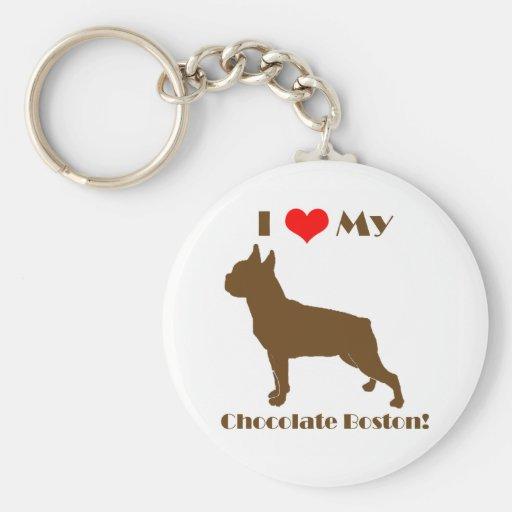 Llavero de Boston Terrier del chocolate
