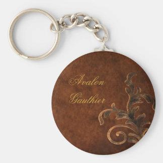 Llavero de bronce personalizado de la hoja de la v