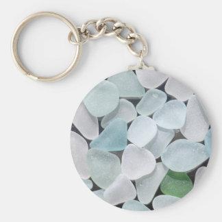 Llavero de cristal del botón del mar