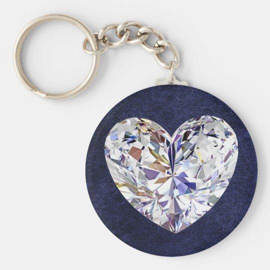 Llavero de cuero azul del corazón del diamante