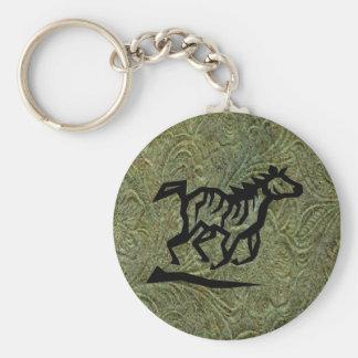 Llavero de cuero del diseño w/Horse de la impresió