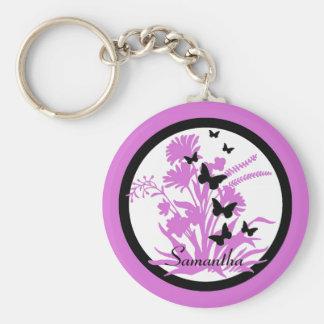 Llavero de encargo negro púrpura de la flor de mar