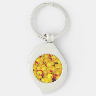 Llavero de goma amarillo de la impresión de los llavero plateado en forma de espiral