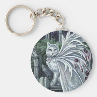 Llavero de hadas blanco del gato de la belladona