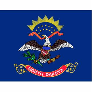 Llavero de la bandera de Dakota del Norte cortado Llavero Fotográfico
