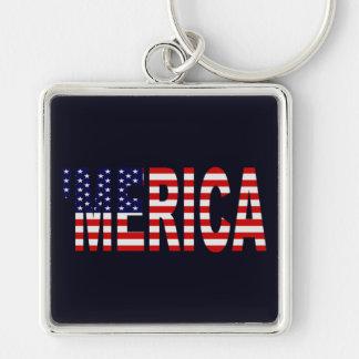 'Llavero de la bandera de MERICA los E.E.U.U. Llavero Cuadrado Plateado
