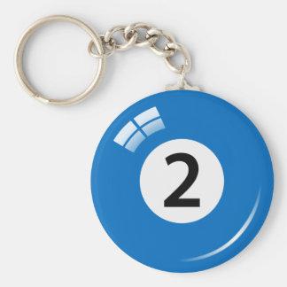 Llavero de la bola de piscina de número dos