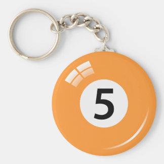 Llavero de la bola de piscina del número cinco