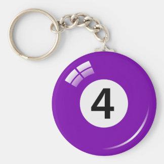 Llavero de la bola de piscina del número cuatro