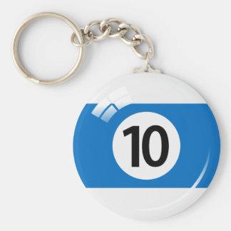 Llavero de la bola de piscina del número diez