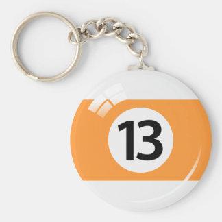 Llavero de la bola de piscina del número trece