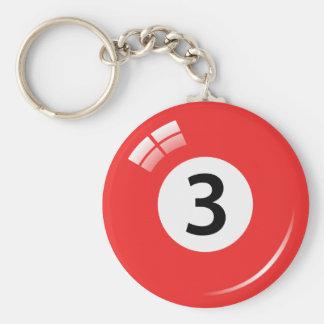 Llavero de la bola de piscina del número tres