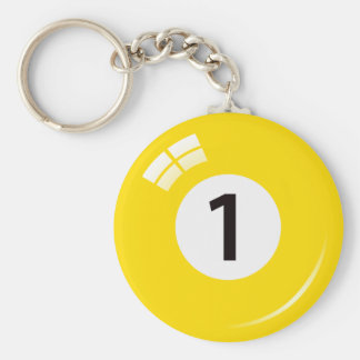 Llavero de la bola de piscina del número uno