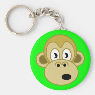 Llavero de la cara del mono - verde