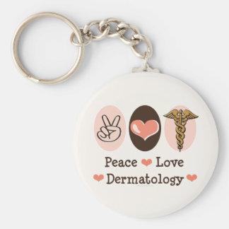 Llavero de la dermatología del amor de la paz