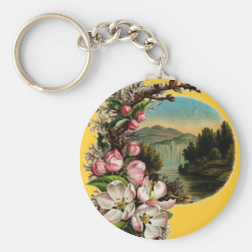 Llavero de la escena del lago flower del vintage