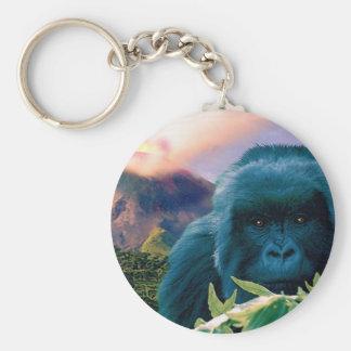 Llavero de la fauna del gorila y del volcán de mon