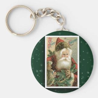 Llavero de la imagen de Papá Noel del vintage