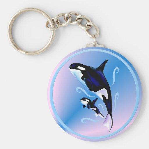 Llavero de la mamá y del bebé de la orca
