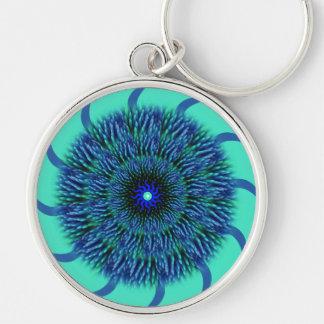 Llavero de la mandala de la flor del azul y de la