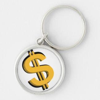 Llavero de la muestra de dólar del oro 3D