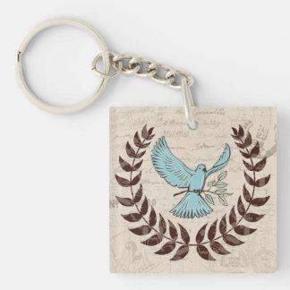 Llavero de la paloma del azul de la paz