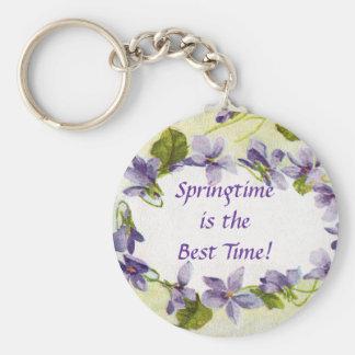 Llavero de la primavera de las violetas del vintag