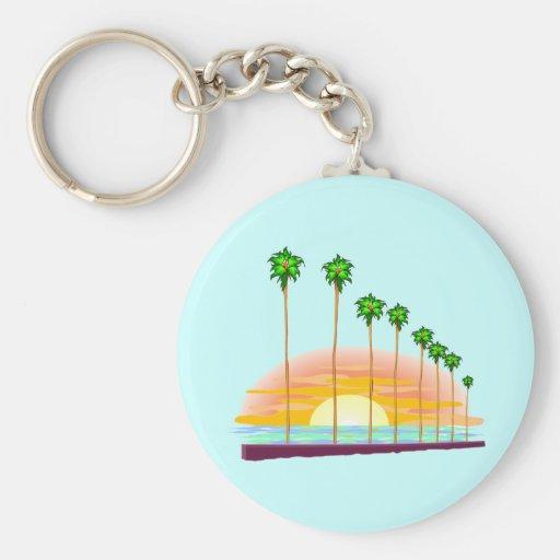 Llavero de la puesta del sol de la palma