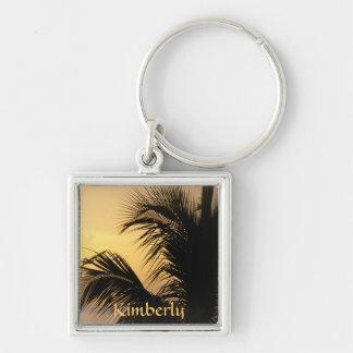 Llavero de la puesta del sol de la palmera