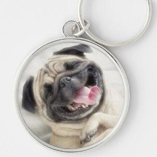 Llavero de la risa del perro del barro amasado llavero redondo plateado