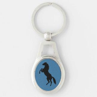 Llavero de la silueta del caballo llavero plateado ovalado