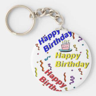 Llavero de la torta del feliz cumpleaños