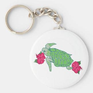 Llavero de la tortuga de mar de la flor