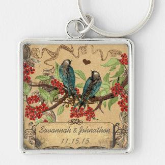 Llavero de las floraciones del rojo de los pájaros