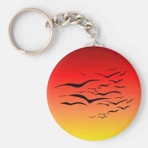 Llavero de las gaviotas de la puesta del sol