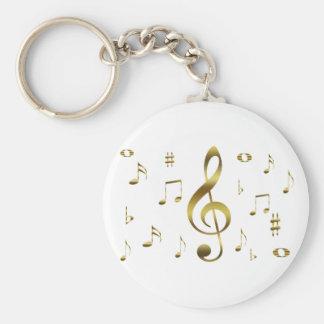 Llavero de las notas musicales del oro