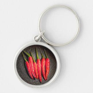 Llavero de las pimientas de chiles rojos