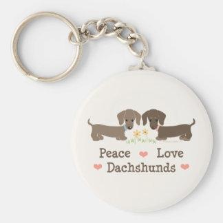 Llavero de los Dachshunds del amor de la paz