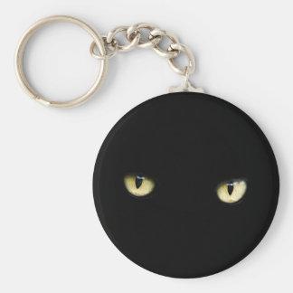 Llavero de los ojos de gato negro de Halloween