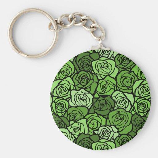 Llavero de los rosas verdes del vintage