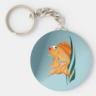 Llavero de lujo de los pescados del oro