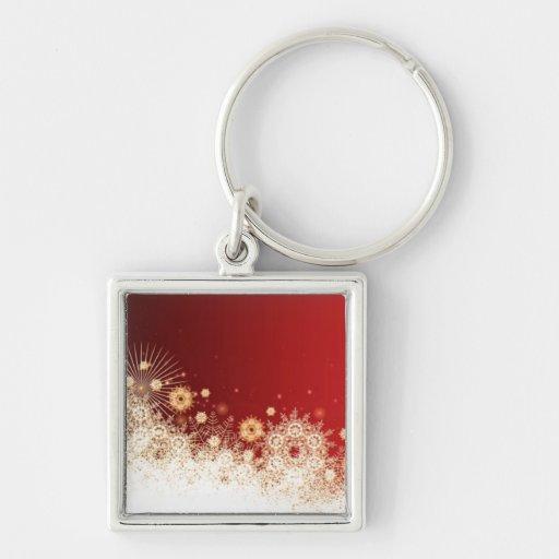 Llavero de lujo del cordón del navidad del oro