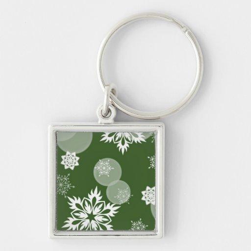 Llavero de lujo del verde del invierno de los copo