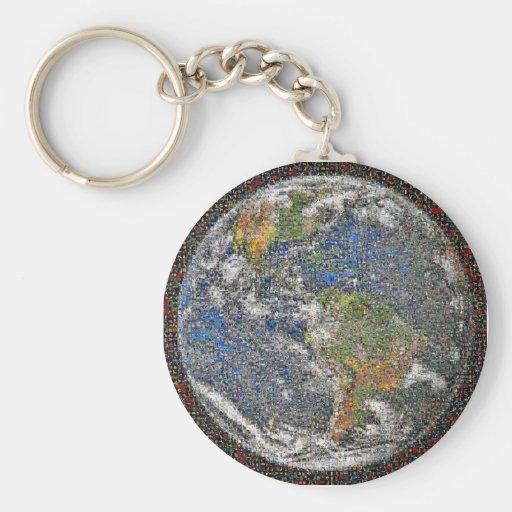 Llavero de mármol azul del mosaico de la foto de l
