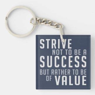 Llavero de motivación del éxito y del valor